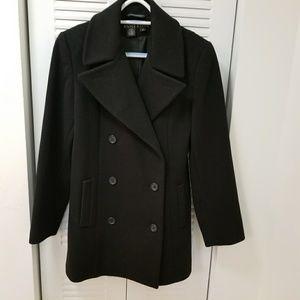 Anne Klein Black coat,100% wool, size 2